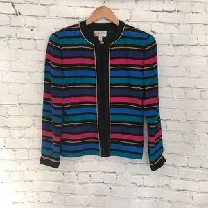 Adrianna Papell Silk Multi Stripe Vintage Jacket